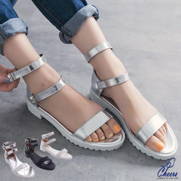 涼鞋*Cheers*韓妞必備羅馬造型繞踝扣環漆皮涼鞋-三色  現貨【WP2110】