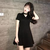 連身裙女短袖小黑裙
