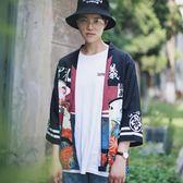 日系和服男寬鬆七分袖道袍開襟薄夾克外套夏季男士防曬衣潮流 熊貓本