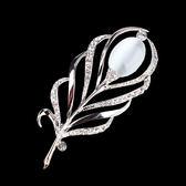 時尚胸花韓版貓眼石簡約復古花朵胸針女別針水鉆西裝領針領花配飾WL3847【衣好月圓】