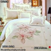 『鮮花慶典』(5*6.2尺)/天使米白☆【薄床包】60支高觸感絲光棉/雙人