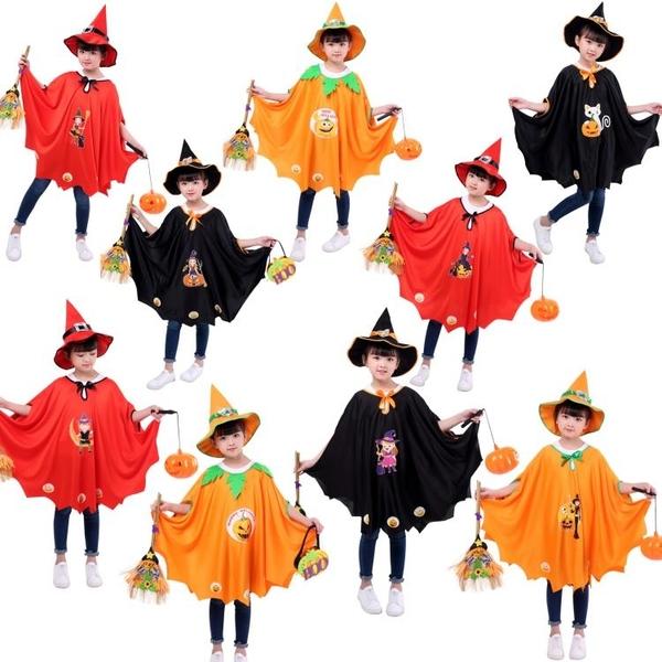 萬聖節兒童披風女童表演演出服裝魔法師女巫巫婆斗蓬套裝南瓜披【快速出貨】