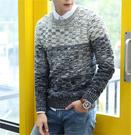 【802】拼接混色針織毛衣 混羊毛毛衣保暖針織衫M-L(共2款)