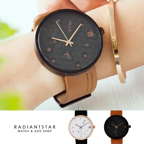 韓國EYKI摩斯密碼蜂巢造型真皮手錶【WEY1119】璀璨之星☆