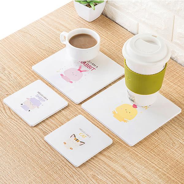 【BlueCat】英文哈囉動物純白木塑板杯墊/隔熱墊(小號)