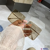 ig歐美大框個性墨鏡潮男女款大臉方框方形防紫外線太陽眼鏡【櫻桃菜菜子】