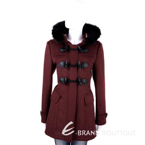 BURBERRY 暗紅色牛角釦羊毛皮草連帽大衣 1510414-74