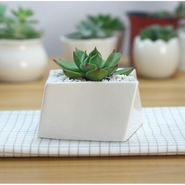 斜正方切割陶瓷花盆 多肉植物盆栽【BI16004】
