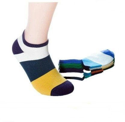 條紋休閒男士女士襪子彩色短襪船襪棉襪中等韓版春夏運動男女襪子