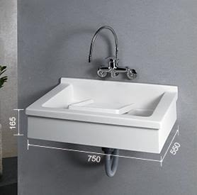 【麗室衛浴】台灣優質品牌 675壁掛式 洗衣槽+實心人造石活動洗衣板 75*55CM