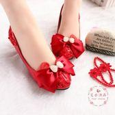 蝴蝶結色婚鞋 低跟蕾絲 韓版中跟孕婦鞋