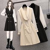 大碼長袖洋裝 禮服 連身裙L-4XL18375韓版大碼拼接顯瘦胖mm設計感減齡連身裙4F093 胖妞衣櫥