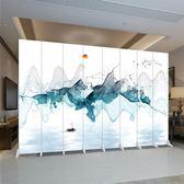 屏風 中式折疊移動屏 風隔斷墻客廳辦公室簡約現代臥室酒店布藝雙面折屏