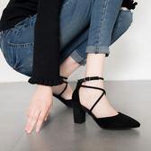 2018春夏新款尖頭交叉綁帶高跟鞋粗跟絨面性感中跟黑色單鞋女涼鞋限時大優惠!