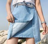 EASON SHOP GU5837 雙層交叉 高腰牛仔裙女短群半身裙紐扣A 字裙 水洗淺藍