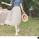 《CA1866-》氣質雙層蕾絲網紗腰鬆緊百褶長裙 OB嚴選