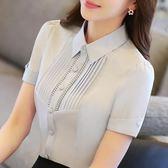 白色襯衫女短袖天修身寸衫正裝工作服職業女裝工裝襯衣 衣櫥の秘密