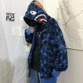 連帽T恤 衛衣韓國INS復古原宿風迷彩鯊魚連帽薄款衛衣潮學生寬鬆bf外套 男女款