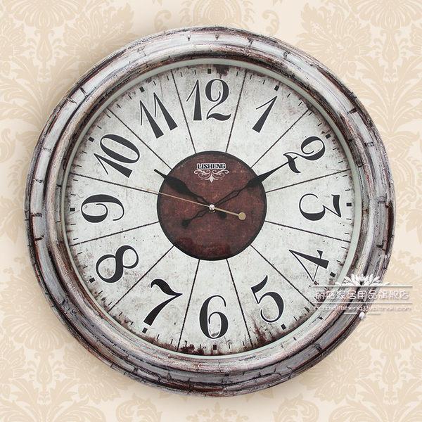 麗盛簡約掛鐘美式鄉村田園地中海靜音掛鐘客廳創意個性掛鐘錶  SSJJG【慶新年全館免運】