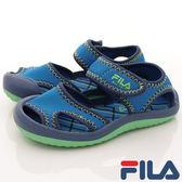 FILA 兒童 護趾 運動涼鞋 休閒涼鞋 7-S458R-336 藍 [陽光樂活]