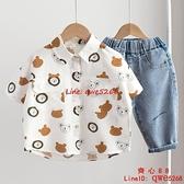 男童短袖襯衫新款兒童洋氣卡通襯衣小童上衣【齊心88】