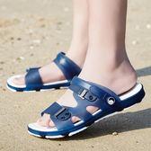 涼鞋男士拖鞋夏季新款一字拖男涼拖鞋時尚外穿沙灘鞋防滑洞洞鞋潮   琉璃美衣