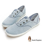Hush Puppies 經典丹寧咖啡紗懶人帆布鞋-淺藍