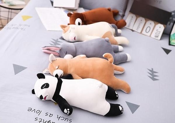 【45公分】厭世系列 睡覺動物玩偶 柴犬熊貓兔子棕熊貓咪 絨毛娃娃 聖誕節交換禮物