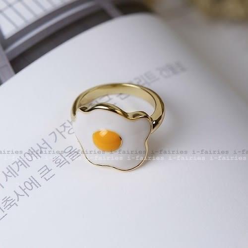 5天出貨★彩釉荷包蛋煎蛋金屬戒指★ifairies【30372】