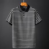 胖人polo衫男寬鬆大碼短袖T恤胖子加肥加大潮牌寬鬆黑白條紋體恤