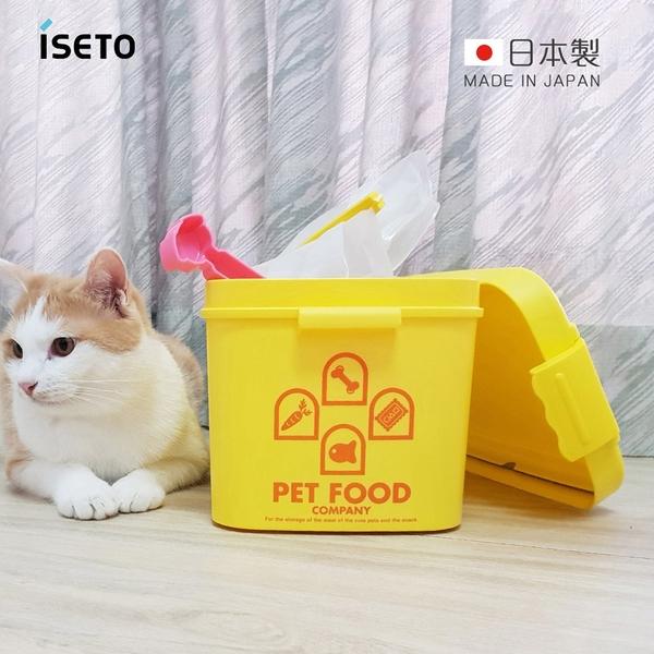 【日本ISETO】日製粉彩寵物飼料密封收納桶(附夾勺)-7L