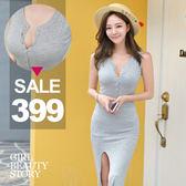 SISI【D8076】優雅簡約時尚圓領開襟排扣無袖修身顯瘦針織螺紋包臀開高叉連身裙洋裝
