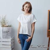【Tiara Tiara】雙面拼接長短版微縮腰短袖上衣(白) 新品穿搭