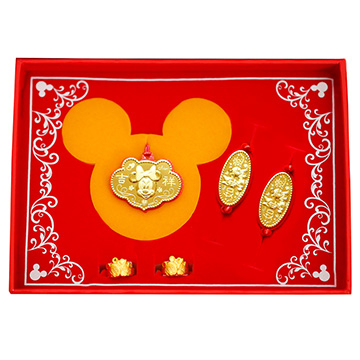 迪士尼系列金飾-彌月金飾禮盒-吉祥美妮款(0.30錢)