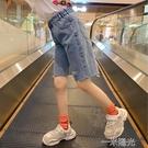 女童牛仔短褲2021夏季新款中大童洋氣薄款褲子兒童大童五分褲中褲 一米陽光