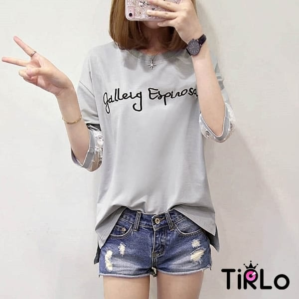 T袖 -Tirlo-推薦! 精緻刺繡蕾絲五分袖短T-三色(現+追加預計5-7工作天出貨)