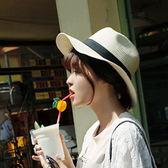 帽子女夏天旅游防曬遮陽巴拿馬草帽沙灘太陽禮帽米白色 芥末原創