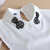 假領子哪裡買襯衫假領片 背後扣寶石款洋裝罩衫大學T針織衫內搭黑色白色[E1483] 預購.朵曼堤洋行