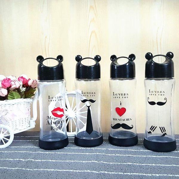 水杯【KCG101】韓版個性耳朵造型鬍子情人玻璃杯330ml 水瓶 瓶子 咖啡杯 隨行杯 水壺-123ok