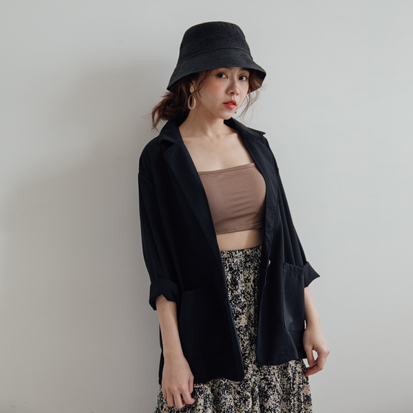 MIUSTAR 涼夏材質!單釦雙口袋雪紡西裝外套(共4色)【NH0948】預購