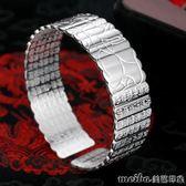 復古佛教大悲咒經文銀手鐲男女款簡約開口雕刻佛經寬版手環飾品 美芭