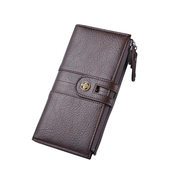 男士長款錢夾皮夾 男士長款錢包 搭扣男生長夾 多功能錢包男包長款錢包 複古簡約多卡位手機包