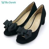 【Bo Derek】蝴蝶結羊皮魚口粗跟鞋-黑