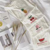 超豐國際女裝學院風甜美可愛桃子櫻桃菠蘿西瓜百搭水果刺繡短1 入
