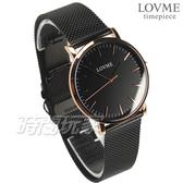 LOVME 原廠公司貨 簡約米蘭輕薄時尚腕錶 女錶 男錶 防水手錶 黑x玫瑰金 VM0012B-43-341【時間玩家】