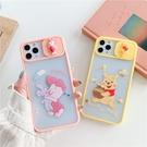 iPhone12 蘋果手機殼 預購 [可掛繩] 維尼熊和皮傑豬 推窗滑蓋 矽膠軟殼