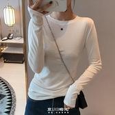 純棉長袖t恤女小衫秋裝2020新款修身緊身內搭白色洋氣打底衫上衣 快速出貨