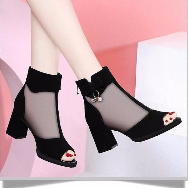 魚口鞋 網紗魚嘴涼鞋新款包郵春秋夏季透氣女鞋后拉鏈高跟粗跟時髦涼靴女 伊蘿