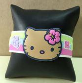 【震撼精品百貨】Hello Kitty 凱蒂貓~手環/手鍊-橡膠材質-黃花造型