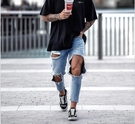 新品特惠# 歐美男士牛仔褲新款大破洞時尚男裝長褲跨境歐洲站男式小腳褲